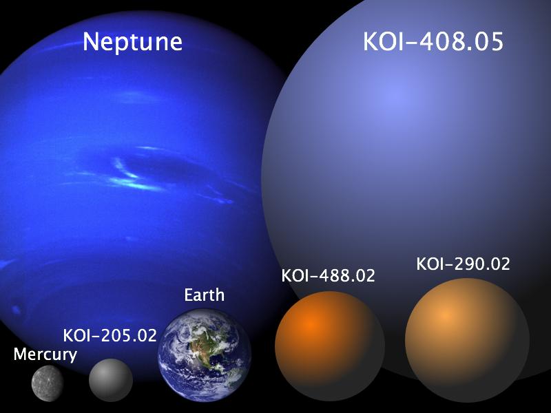 De vier kandidaat-planeten zie je hier samen met de aarde, Neptunus en Mercurius afgebeeld. Dit plaatje geeft een goed beeld van hoe groot de planeten - in vergelijking met planeten in ons zonnestelsel - zijn. Afbeelding: University of British Columbia.