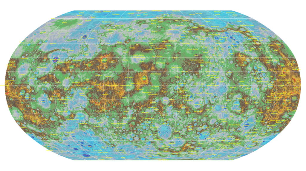 De complete topografische kaart van Mercurius. Lagergelegen gebieden zijn blauw en paars, hogergelegen gebieden zijn oranje, bruin en rood. Klik voor een vergroting. Afbeelding: USGS.