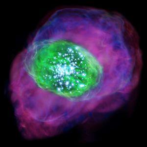 Artistieke impressie van het jonge sterrenstelsel.