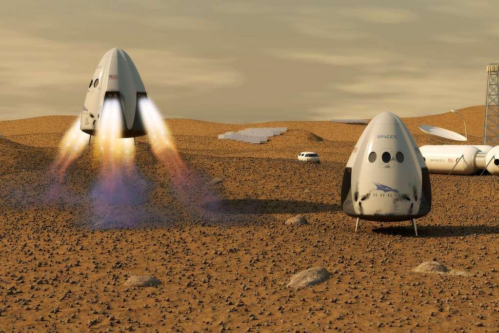 Ruimtevaartuig Dragon - eigendom van SpaceX - op Mars. Een artistieke impressie van de hand van Kevin Gill (via Wikimedia Commons).