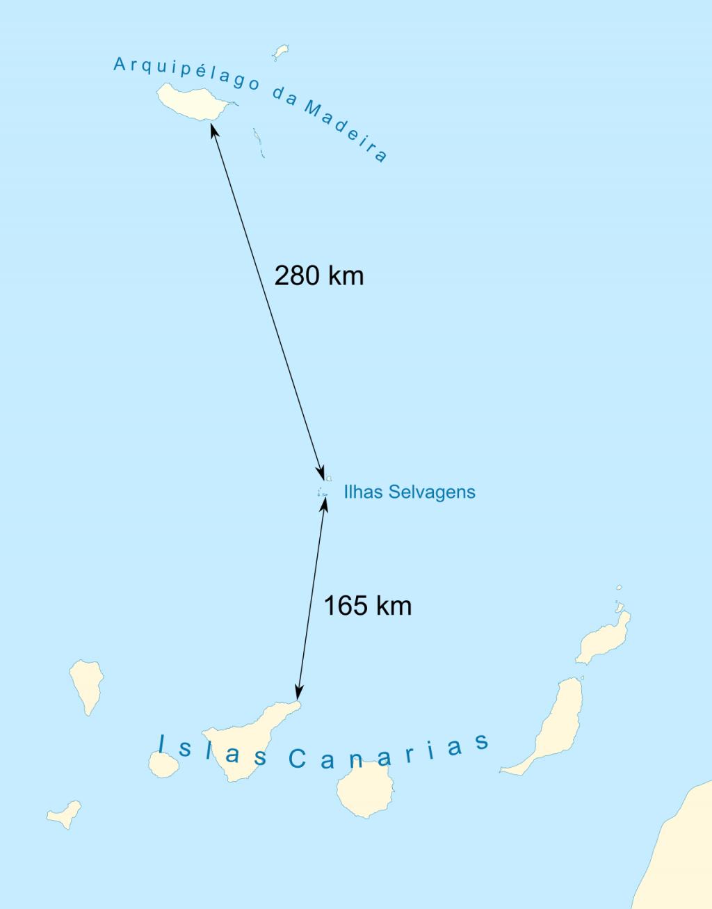 De Selvagens-eilanden. Ze liggen tussen de Madeira-eilanden en de Canarische Eilanden. Afbeelding: Wiltron (via Wikimedia Commons).