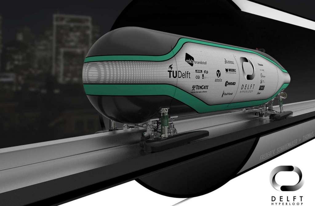 Een artistieke impressie van de Hyperloopcapsule van de studenten van TU Delft. Afbeelding: Delft Hyperloop.