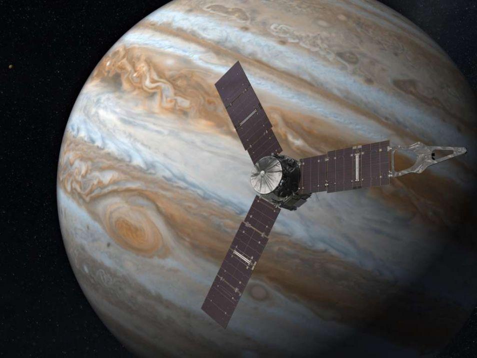 Een artistieke impressie van de Juno-ruimtesonde voor de planeet Jupiter.