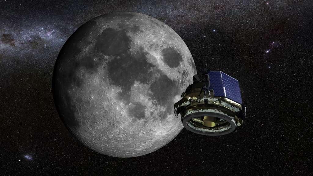 De maanlander van Moon Express nadert de maan. Afbeelding: Moon Express Inc.