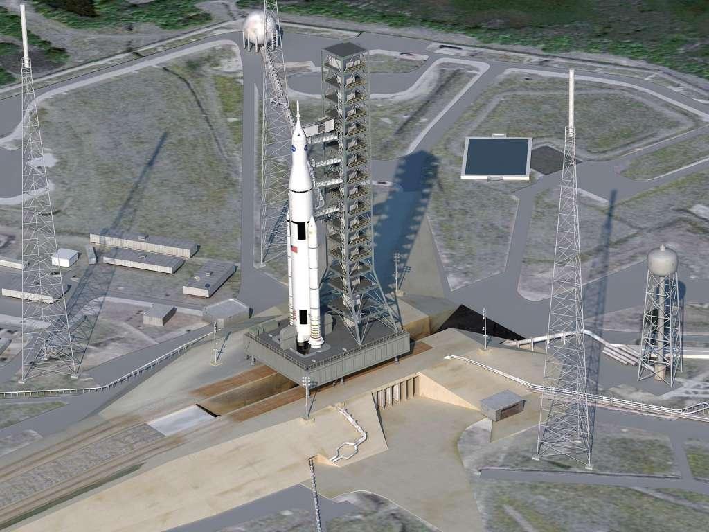 Zo zal NASA's monsterraket er ongeveer uit gaan zien als deze helemaal klaar is. Afbeelding: NASA.