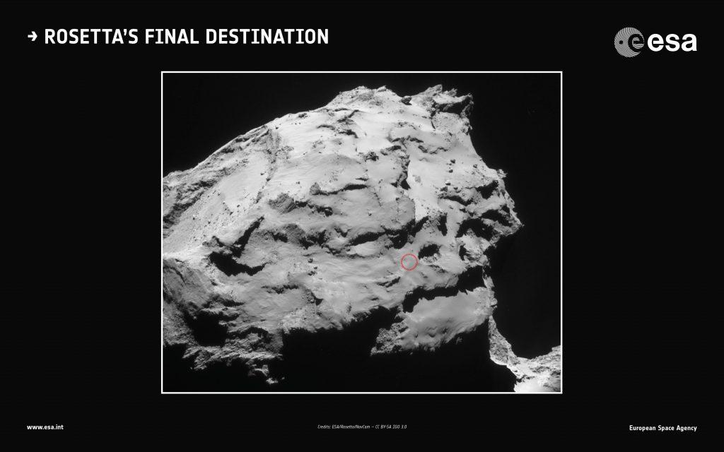 Op deze afbeelding wordt de landingsplek van Rosetta aangeduid. Afbeelding: ESA.