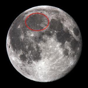 De locatie van Mare Imbrium. De maanzee is vanaf het aardoppervlak met het blote oog te zien.
