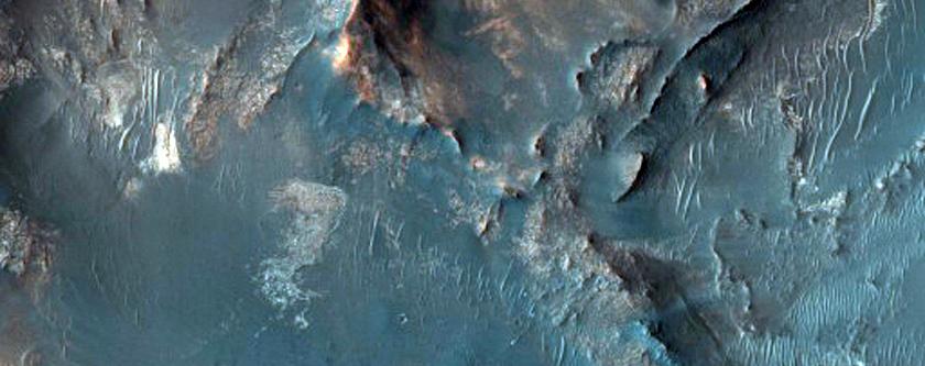 Een mogelijke landingsplek voor de marsrover die NASA in 2020 naar Mars hoopt te sturen. Je ziet hier het noordoostelijke deel van Syrtis Major Planum: een vrijdonker gebied dat ligt op de grnes van het noordelijk laagland en zuidelijk hoogland van de rode planeet. Afbeelding: NASA / JPL / University of Arizona.