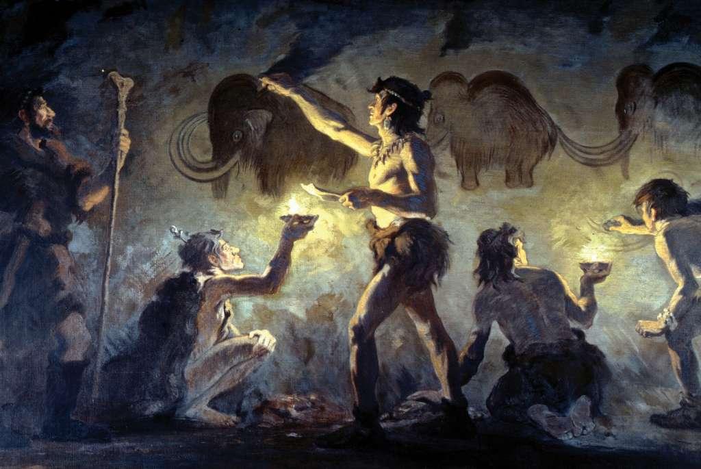Cro-magnonmensen aan het werk in een grot. Afbeelding: Charles Robert Knight.