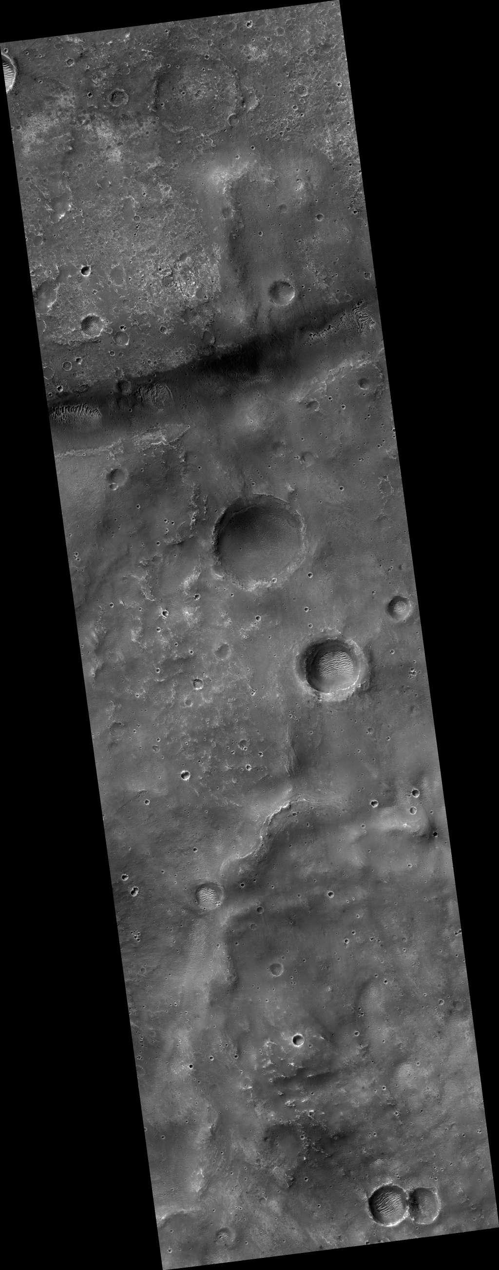 Hier gaat ExoMars mogelijk landen. Het gebied wordt Oxia Palus genoemd. Afbeelding: NASA / JPL / University of Arizona.