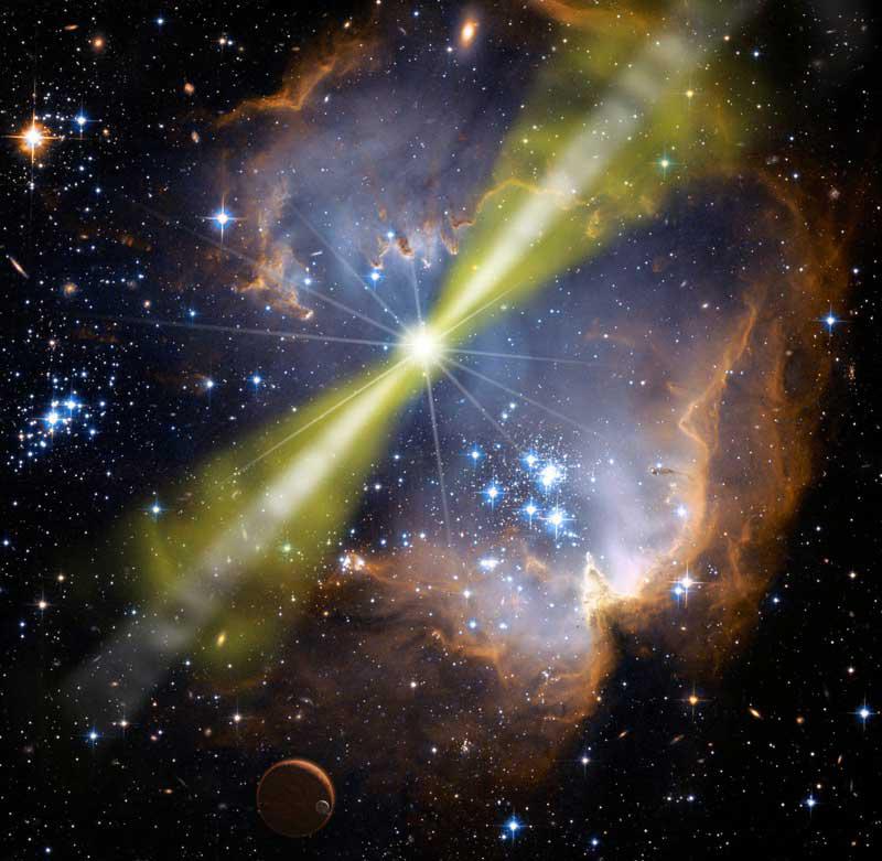 Een gammaflits. Hoe zo'n gammaflits precies ontstaat, is onduidelijk. Onderzoekers hebben er wel theorieën over. Zo ontstaan ze mogelijk door een samensmelting van twee neutronensterren. Of door het ineenstorten van een hypernova. Afbeelding: NASA / Swift / Mary Pat Hrybyk-Keith & John Jones.