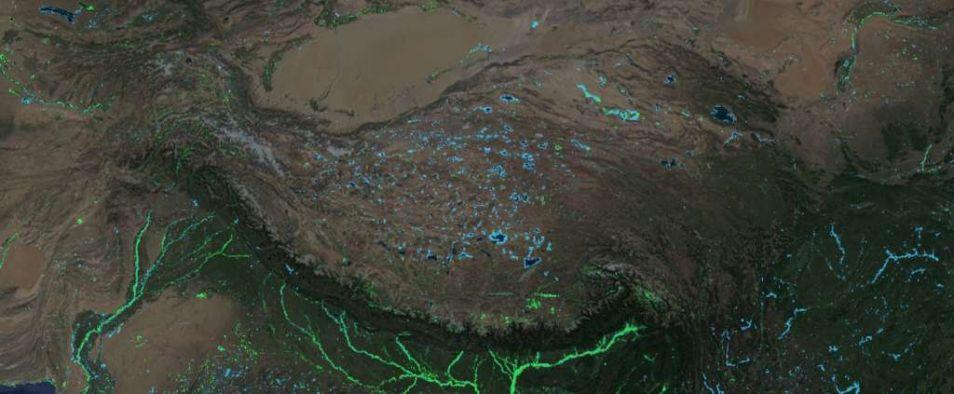 De meren in het Tibetaanse Hoogland zijn groter geworden.