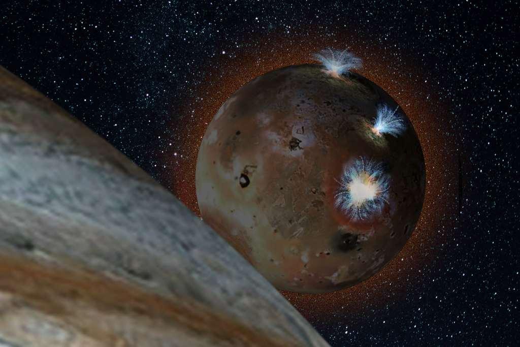 Elke dag (een dag op Io duurt 1,7 aardse dagen) bevindt Io zich in de schaduw van Jupiter. Afbeelding: Southwest Research Institute.