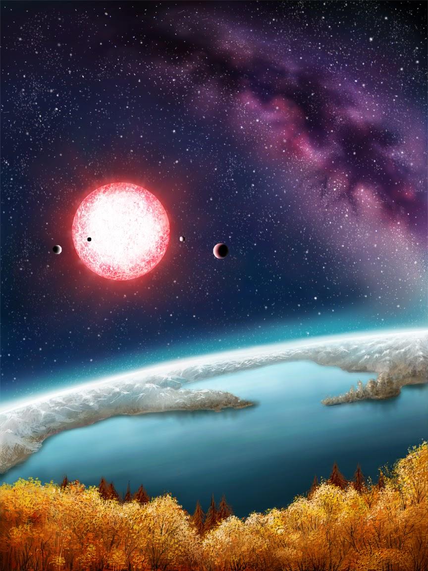 Een artistieke impressie van Kepler-186f. Afbeelding: Daniëlle Futselaar.
