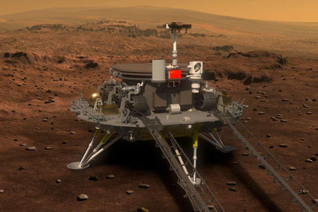 Hier zie je de Chinese Marslander en -rover op het oppervlak van Mars staan. Foto: Xinhua.