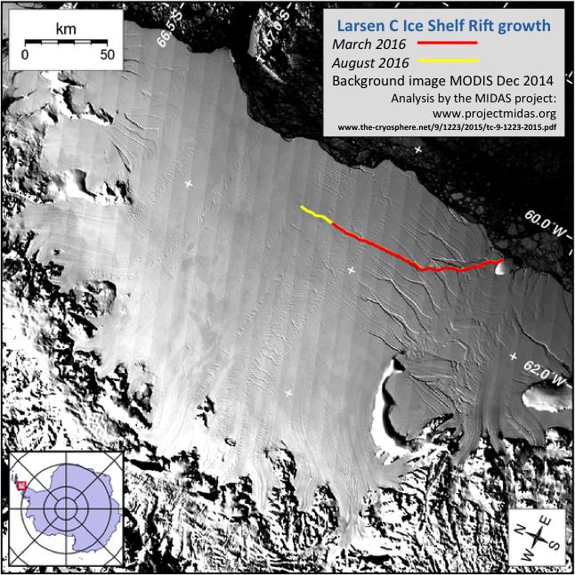 Hier zie je de scheur in de Larsen C-ijsplaat. Het gele deel van de scheur is in de afgelopen zes maanden ontstaan. Afbeelding: Project MIDAS.