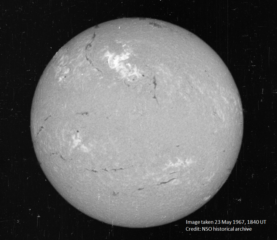 De zon op 23 mei 1967. Afbeelding: National Solar Observatory.