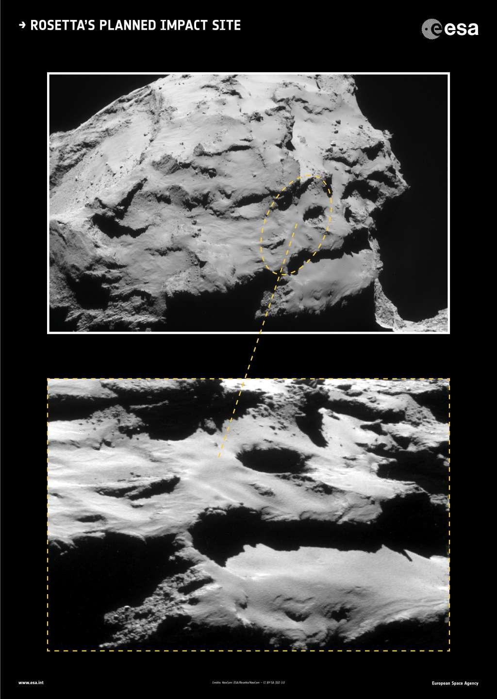 Hier moet Rosetta gaan landen/crashen. Dat zal waarschijnlijk gebeuren met een snelheid van zo'n 90 centimeter per seconde (vergelijkbaar met loopsnelheid). Afbeelding:  ESA / Rosetta / NavCam.