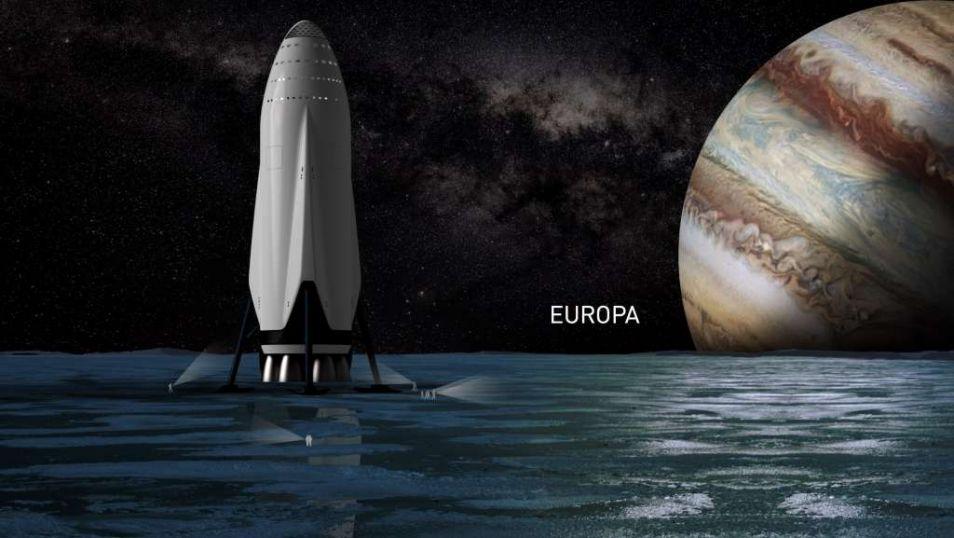 SpaceX hoopt in de toekomst verder te reizen dan Mars, bijvoorbeeld naar de maan Europa van Jupiter.