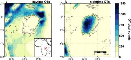 Het dag-en-nachtritme van het klimaat boven en rond het Victoriameer. Links zie je de NASA-satellietobservaties van overdag, rechts 's nachts. Des te donkerder het beeld, des te meer stormen er zijn gevonden in de periode tussen 2005 en 2013.