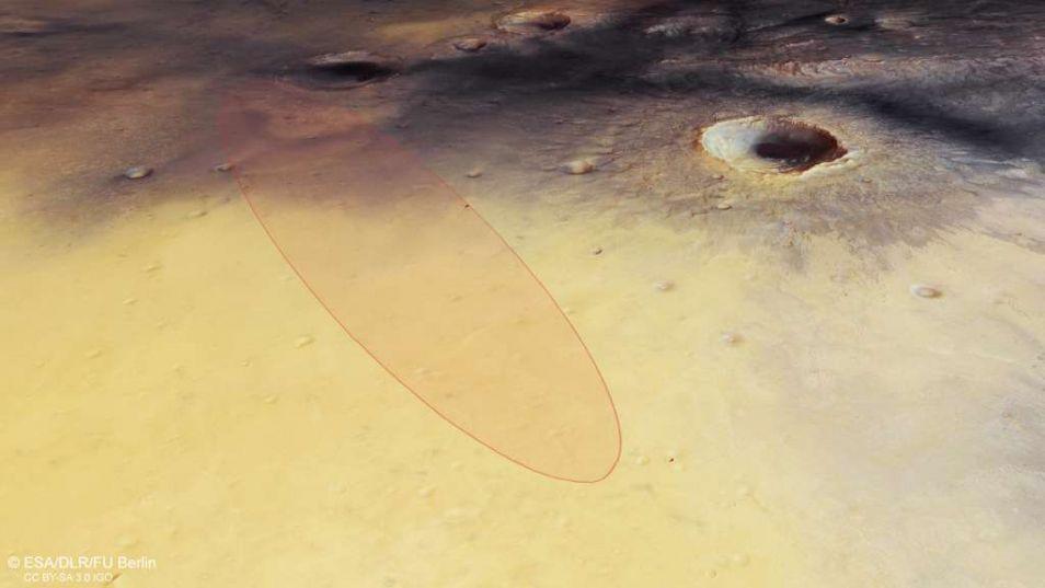 In het omcirkelde gebied moet Schiaparelli neerkomen. Eerder landde NASA's Marsrover Opportunity al in dit gebied, dat Meridiani Planum heet.