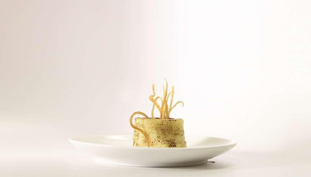 Een geprinte polenta met bietjes.