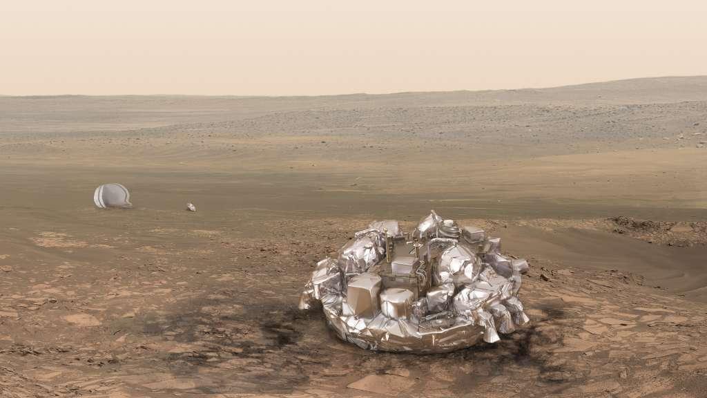 Schiaparelli zal met een zachte plof op de rode planeet arriveren. Afbeelding: ESA / ATG medialab.