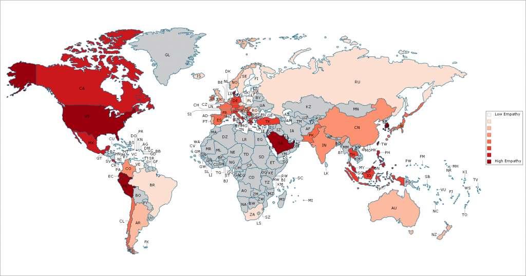 Hoe roder de landen zijn, hoe empathischer. Van de grijze landen waren onvoldoende gegevens beschikbaar, zij zijn dus niet in het onderzoek opgenomen. Afbeelding: Michigan State University.