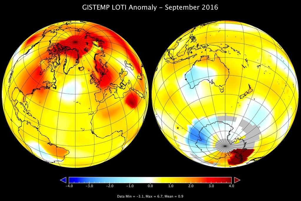 Met name op het noordelijk halfrond lagen de temperaturen in september hoog, zo laat dit kaartje zien. Afbeelding: NASA / GISS.