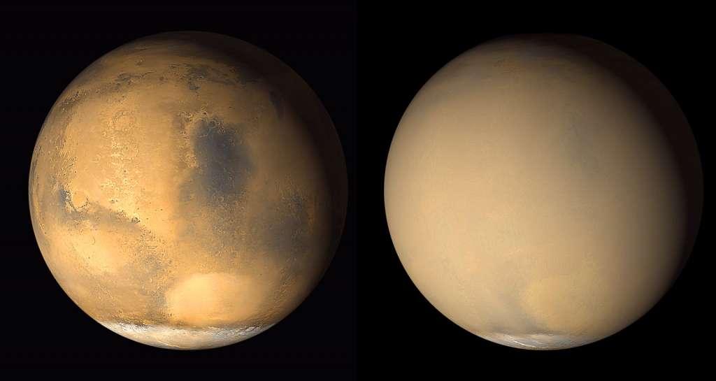 Beide foto's van Mars zijn in 2001 gemaakt. Op de eerste is het oppervlak goed zichtbaar. Op de tweede wordt de gehele planeet omhuld door stof. Afbeelding: NASA / JPL-Caltech / MSSS.