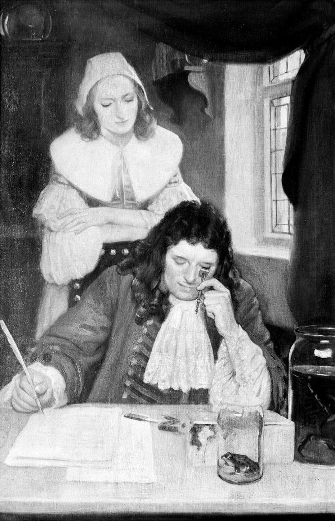 Van Leeuwenhoek met zijn microscoop. Een schilderij van Ernest Boar / Wellcome Images (via Wikimedia Commons).