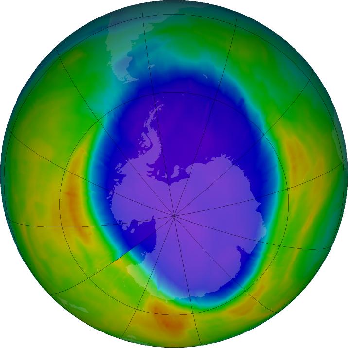 Tijdens de piek op 28 september 2016 besloeg het gat in de ozonlaag een gebied dat ongeveer 23 miljoen vierkante kilometer groot was. In paars en blauw de plekken waar de minste ozon te vinden is. De gele en rode vlekken staan symbool voor gebieden waar de ozonconcentratie hoger ligt. Afbeelding: NASA's Goddard Space Flight Center.