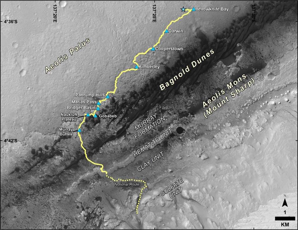 Hier zie je de route die Curiosity sinds de landing op Mars heeft afgelegd. De stippellijn laat de route zien die Curiosity de komende tijd zal volgen. Afbeelding: NASA / JPL-Caltech / University of Arizona.