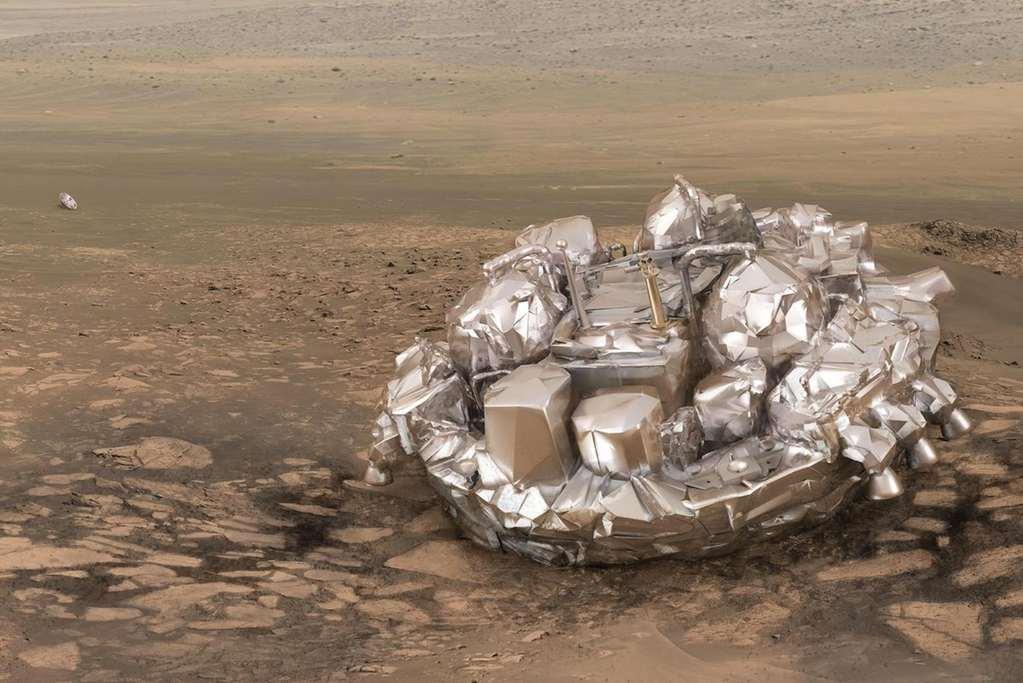 Schiaparelli op het oppervlak van Mars. Afbeelding: ESA / ATG Medialab.
