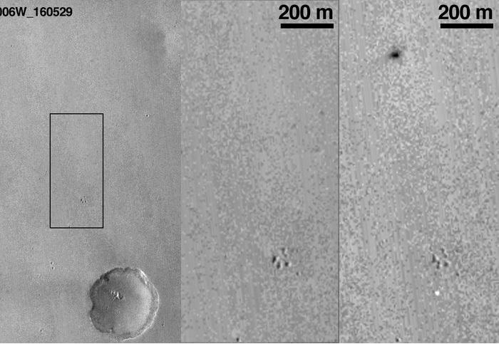 De foto in het midden laat de situatie voor de tijd zien. Op de foto rechts zie je de gecrashte lander.