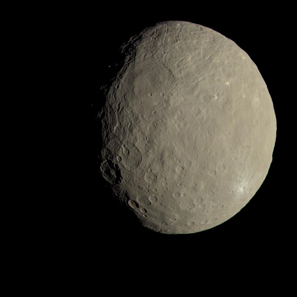 De werkelijke kleuren van Ceres. Afbeelding: NASA / JPL-Caltech / UCLA / MPS / DLR / IDA.