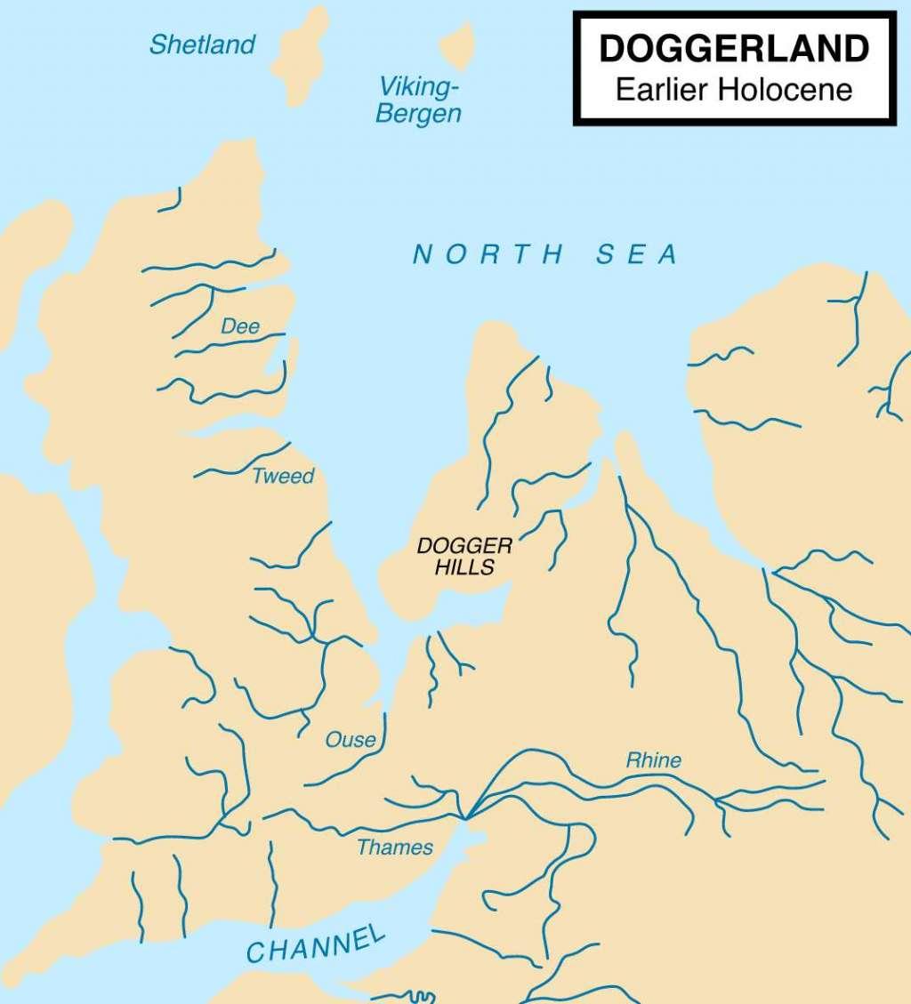Doggerland aan het begin van het Holoceen (een tijdvak dat zo'n 11.700 jaar geleden begon). Afbeelding: Max Naylor (via Wikimedia Commons).