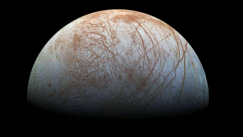 Europa, een maan van Jupiter. Afbeelding: NASA.
