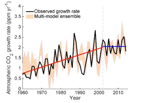 De zwarte lijn staat voor de waargenomen groeisnelheid van de CO2-concentratie in de atmosfeer. De rode lijn geeft de trend tussen 1960 en 2002 aan: de groeisnelheid neemt duidelijk jaar na jaar toe. Tussen 2002 en 2014 verandert de trend (blauwe lijn). De CO2-concentratie neemt nog steeds toe, maar de snelheid waarmee de CO2-concentratie toeneemt is vrij stabiel. Afbeelding: Berkeley Lab.