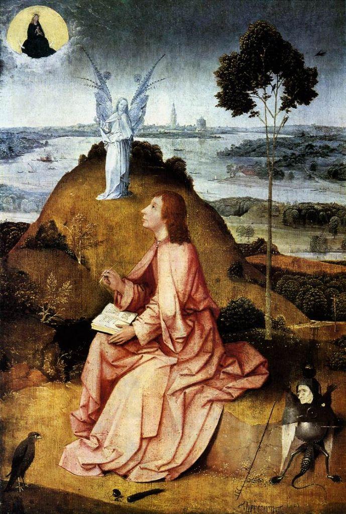 Johannes van Patmos schreef naar aanleiding van visioenen het boek 'Openbaring'.