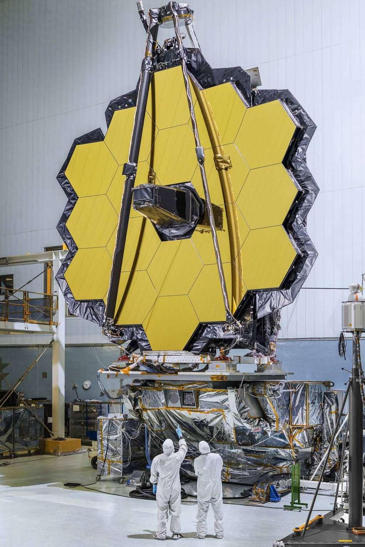 De machtige spiegel van de James Webb-telescoop. Afbeelding: NASA / Chris Gunn.