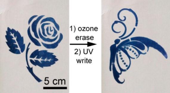De afbeeldingen verdwijnen wanneer ze aan zuurstof of ozon worden blootgesteld. Afbeelding: American Chemical Society.