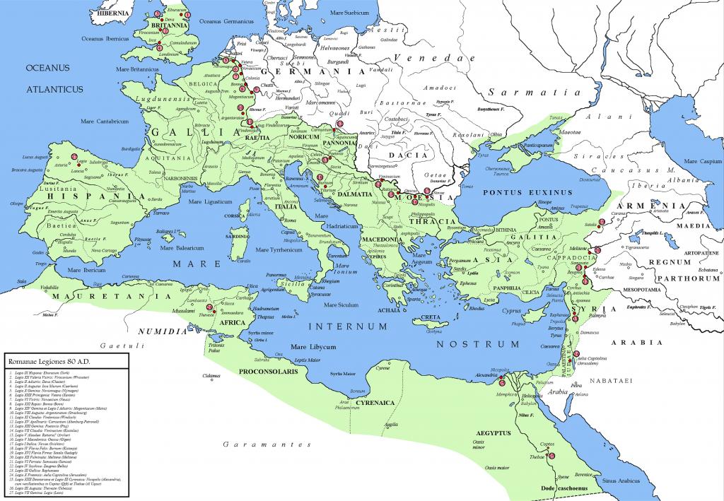 Het Romeinse rijk rond het jaar 80. Afbeelding: Christiano64 (via Wikimedia Commons).