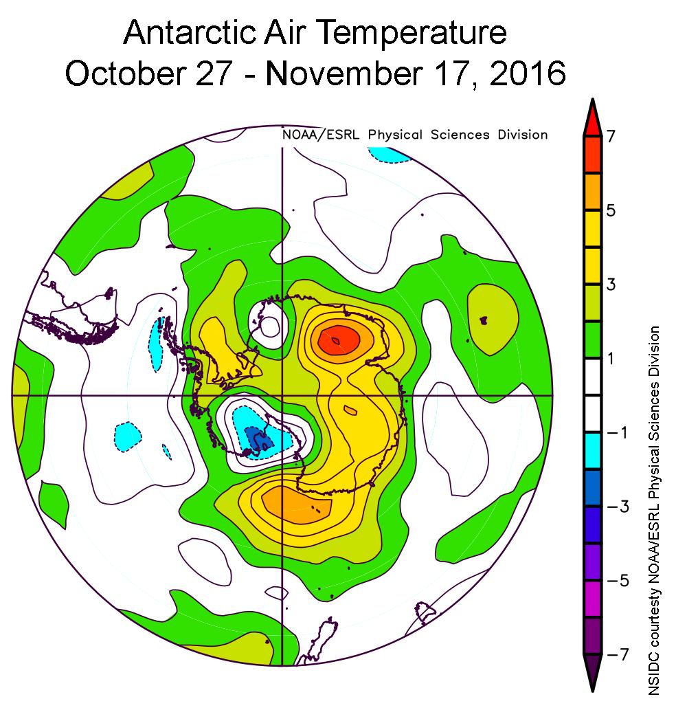 Deze afbeelding laat zien in welke mate de temperatuur op Antarctica afwijkt van de temperatuur die we in deze periode (27 oktober tot 17 november) gemiddeld gezien gewend zijn. Aan de randen van het zee-ijs ligt de temperatuur zo'n 2 tot 4 graden Celsius hoger dan gemiddeld. Afbeelding: NSIDC / NOAA / ESRL Physical Sciences Division.