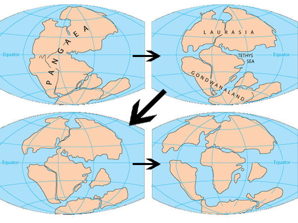 Het uiteenvallen van Pangea. Afbeelding: USGS.