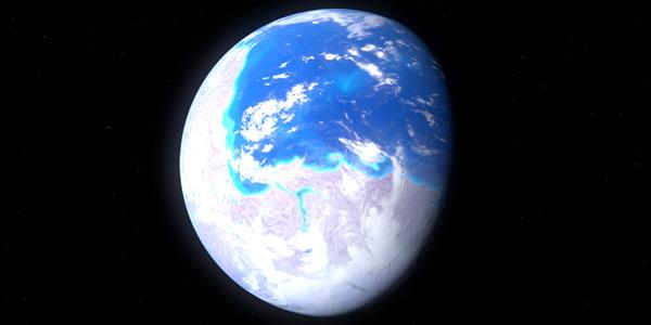 Een artistieke impressie laat zien hoe Rodinia er vanuit de ruimte uit moeten hebben gezien. Afbeelding: Kelvin Ma (via Wikimedia Commons).