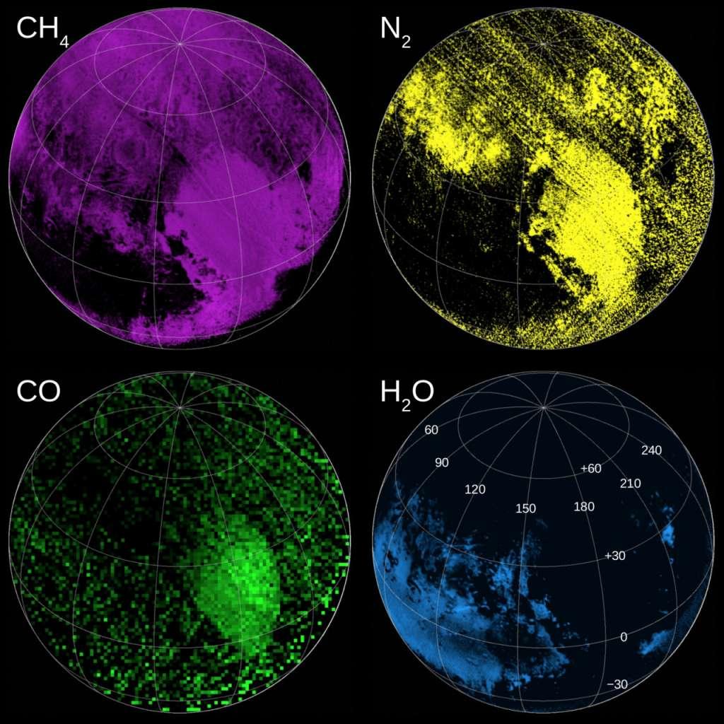 We zeiden het al: Pluto is verrassend complex gebleken. Dat blijkt ook wel uit deze kaartjes die (van links naar rechts en van onder naar boven) laten zien waar ijs rijk aan methaan, stikstof, koolstofmonoxide en water te vinden is. Afbeelding: NASA.